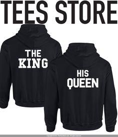 King & Queen Hoodie Set / Couple Hoodies/ Wedding Hoodies / Groom Hoodie / Bride Hoodie / Popular Black Hoodies / Tumblr / Instagram / 552 by TeesStore on Etsy