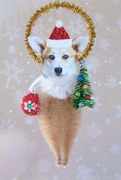 Corgi Christmas Ornament Feather Tree by TreePets on Etsy, $12.95