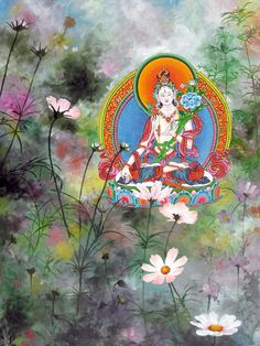 Buddhist Texts, Buddhist Art, Cosmos Flowers, Thangka Painting, Tibetan Art, Fine Art Prints, Canvas Prints, Contemporary Art, Original Paintings