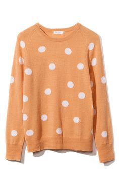 i love the color cantaloupe & big sweaters. and polka dots.  and that my friends, is why this sweater is perfect.