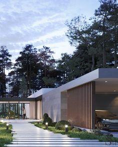 Portfolio: Residence in Razdory village 1 Modern House Facades, Modern Exterior House Designs, Dream House Exterior, Modern Architecture House, Residential Architecture, Modern House Design, Exterior Design, Architecture Design, Modern Contemporary House