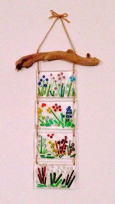 Millefiori fused glass, driftwood wall decoration by Zeynep Aksu