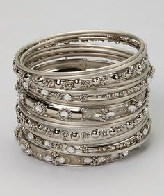 Silver Crystal Bangle Set