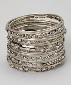 Silver Crystal Bangle Set