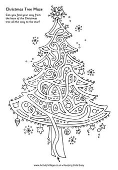 Christmas tree maze. Have other Christmas mazes also as well as many other interesting kid's activities.