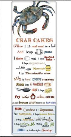 New England Crab Cakes Recipe Cotton Flour Sack Dish Towel Tea Towel * Link Does Not Work Crab Cake Recipes, Fish Recipes, Seafood Recipes, Chicken Recipes, Cooking Recipes, Pasta Recipes, Recipies, Indian Recipes, Healthy Recipes