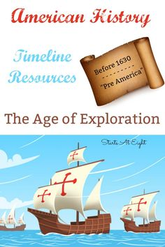 American History Timeline Resources - The Age of Exploration from Starts At Eight. American History Timeline Resources: Before 1630 - Pre America includes resources, books, videos, and projects for the Age of Exploration. American History Lessons, World History Lessons, History For Kids, History Education, History Projects, History Teachers, Teaching History, History Books, Teaching American History