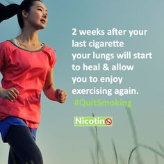 2 weeks after your last cigarette your lungs will start to heal & allow you to enjoy exercising again. #QuitSmoking http://nicotino.com/quit-smoking-timeline/