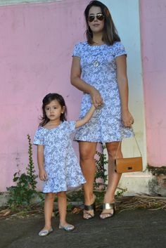 """""""Mommy and I are going shopping. Mom And Baby Outfits, Mommy And Me Dresses, Mother Daughter Dresses Matching, Mother Daughter Fashion, Mom Daughter, Cute Dresses, Kids Outfits, Fashion Kids, Color Combinations For Clothes"""