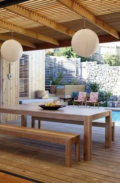 Wooden Patio Furniture with Beautiful Lighting