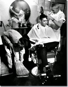 25th March, 1958 Fort Chaffee, GI haircut with the Worlds Press, photographers & Newsreels