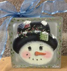Snowman on glass block