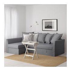 IKEA - HOLMSUND, Eckbettsofa, Nordvalla mittelgrau, , Bezug aus sehr strapazierfähigem Polyester mit deutlichem Strukturmuster.Aufbewahrung unter der Récamiere mit Arretierung im Deckel zum sicheren Verstauen und Herausnehmen.Die losen Rückenpolster lassen sich nach Bedarf anwinkeln - so reguliert man die Sitztiefe ganz individuell.Die Récamiere kann links oder rechts vom Sofa aufgestellt und nach Wunsch jederzeit umplatziert werden.Abnehmbarer, maschinenwaschbarer Bezug.