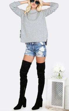 Grey Mock Neck Drop Shoulder Side Slit Sweater