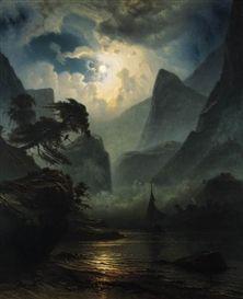 Knud Baade (1808-1879): Norsk fjordlandskap i maneskinn (A Norwegian fjord by moonlight)