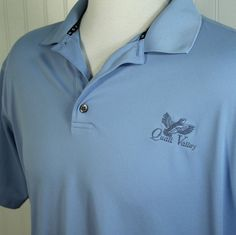 FootJoy Mens XL ProDry Pique Mesh Quail Valley Golf Club Lt Blue Polo Shirt EXC #FootJoy #PoloRugby