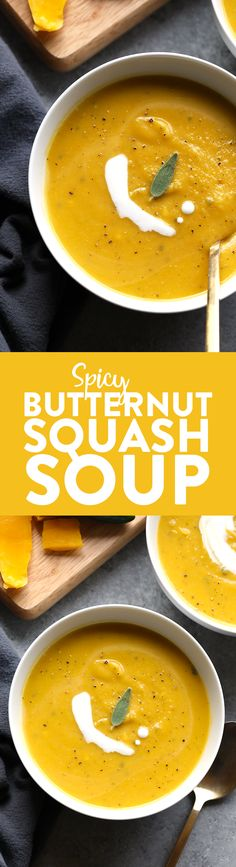 30 Minute Spicy Butternut Squash Soup | Fit Foodie Finds