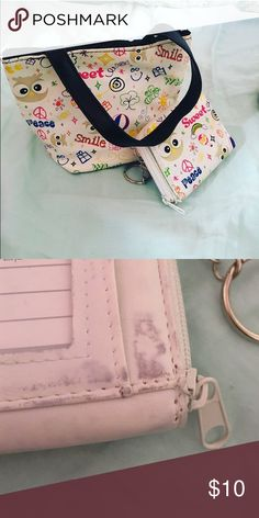 Cute mini purse + wallet Cute mini purse with matching wallet! Putse has a button inside to keep it closed a zipper pocket inside to hold small things. Wallet has a few blue marks as shown in pic, not sure if could be removed but the front and inside are in good condition and has never been used as well as the purse  ❤️ Accessories Bags