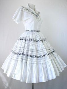 "40s 50s Dress Vintage Patio DressSet Bogart Label Squaw Blouse Skirt Circle 240"" White Black Silver Metal Zip Rockabilly 40s 1950s Dresses. $95.00, via Etsy."