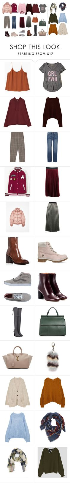 """new capsule and mini wishlist"" by kmarina ❤ liked on Polyvore featuring MANGO, Hollister Co., Frame, Bershka, Sans Souci, Frye, Timberland, Vans, Isabel Marant and Tory Burch"