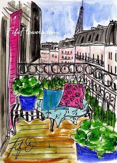 Hot Pink Paris Shutter by Fifi Flowers
