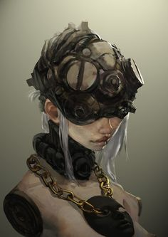 rag-tag helmets of all kinds creates a good dark future look. just try and stay away from conventional combat helmets.