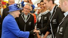 Queen Elizabeth II meets athlete Nick Willis and other members of the New Zealand Olympic team, as she tours the Athletes Village dining hall at the Olympic Park, in London, Saturday July (AP Photo/John Stillwell, Pool) Olympic Athletes, Olympic Team, History Of Queen Elizabeth, Queen Elizabeth Ii, British Press, Prince Philip, King George, New Zealand