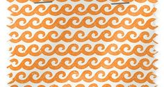 "Shore Thing Tangerine Fabric is an orange and white patterned fabric with a vertical repeat of 12 5/8″ and width of 54."" Found Design Chandler AZ"