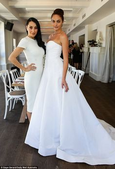 Here comes the bride! She posed alongside one of the models in a look from the David Jones...