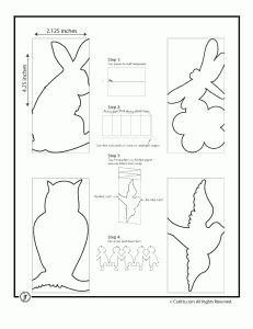 Paper Chain template animals, i.e rabbit, owl, etc. also has templates for people, city, spiders, spaceship. etc.