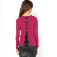 La Redoute pink Sweater with Bow and Lace Back Detail