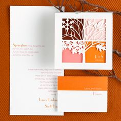 Four Seasons Wedding Invitation - Multiple color options available, but we ♥ this one for an autumn wedding!