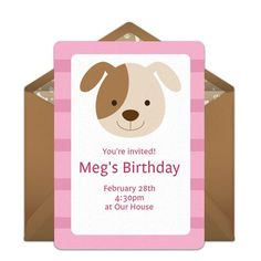 Customizable, free Puppy Party online invitations. Easy to personalize and send for a party. #punchbowl