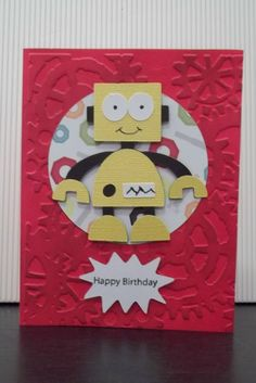 """Happy Birthday card for OWH.   Tim Holtz embossing folder, """"Boys will be boys"""" and """"Plantin' Schoolbook"""" Cricut cartridges."""