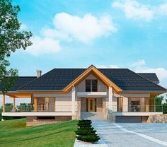 House with attic in modern style with usable area House with a large garage. Minimum size of a plot needed for building a house is m. House Plans Mansion, Cottage Style House Plans, Bungalow House Design, Cottage Plan, Classic House Design, Simple House Design, My Home Design, Modern House Design, Village House Design