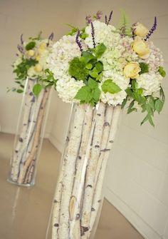 Witte takken en bloemen