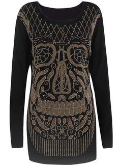 Black Long Sleeve Rivet Shoulder Pads T-Shirt US$30.10