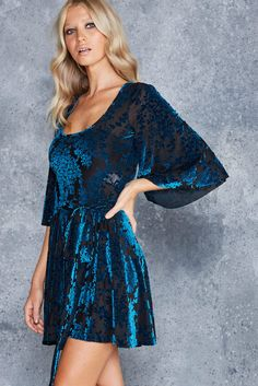 Burned Velvet Teal Floral Kimono Dress - LIMITED ($110AUD) by BlackMilk Clothing