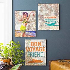 This DIY map artwork is an easy route to adorable decor. Cut a map to cover a canvas. Choose a word, symbol, or phrase and print it onto the cut map. Use a spray adhesive to affix the map to the canvas, then use a glossy finish decoupage medium to seal the look. Use two coats for long-lasting wall art.