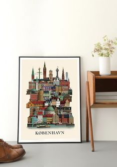 Copenhagen cityposter by Martin Schwartz depicts soul of the Danish capital in a single print. Find iconic buildings such as Rundetaarn and the city hall Unique Poster, Copenhagen, Printer, Graffiti, Skyline, Holiday Decor, Frame, Posters, Floors