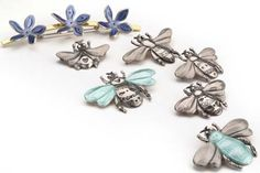 Bees & Flowers Silver Bee Brooches by Bryony Knox.   Photography by Jeremy Johns