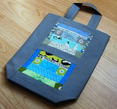Upstairs-downstairs bag, one handle to hang on doors, tape cassette patchwork