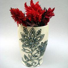 Henna Design Vase Hindu Vase Textured Vase  by alinahayesceramics