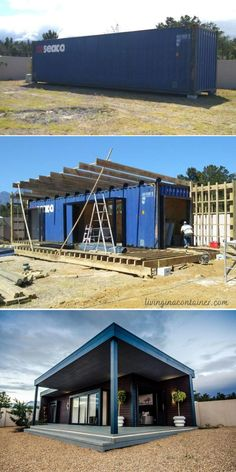 Building A Container Home, Container Buildings, Container Architecture, Container House Design, Small House Design, Tiny House Cabin, Tiny House Plans, Shipping Container House Plans, Shipping Containers