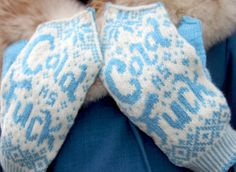 How Cold Is It - Mitten Pattern - Knitting Pattern - Blue & White Humorous Mittens - Pattern PDF