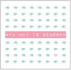 NYA MAY - Industrieel geboortekaartje van 'Het Uilennestje' voor een meisje/ dochter.  www.hetuilennestje.nl  Mint groen, zacht roze, wit, stoer, olifantjes, hartjes.