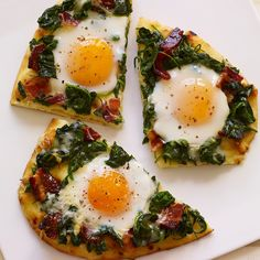 Pizza for breakfast? This upscale breakfast pizza features a naan flatbread crust, candied bacon, spinach, Gruyere cheese and sunny-side up eggs.