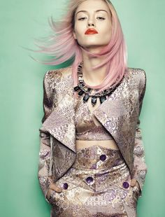Fashion spread with lovely pink ombre hair