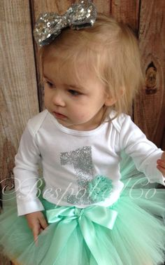 Silver and Mint snowflake Birthday outfit/ Winter by BespokedCo