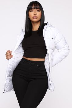 Coat This Down Puffer Jacket – White – fashion nova jeans outfits Dope Outfits, Cute Casual Outfits, Chic Outfits, Girl Outfits, Fashion Outfits, Fashion Trends, Black Girl Fashion, White Fashion, Look Fashion